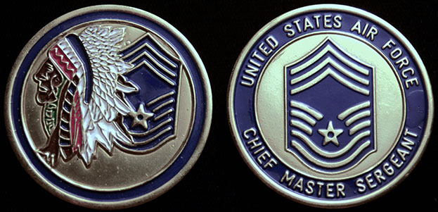 Chief Master Sergeant Gold Blue Challenge Coin Cartouche