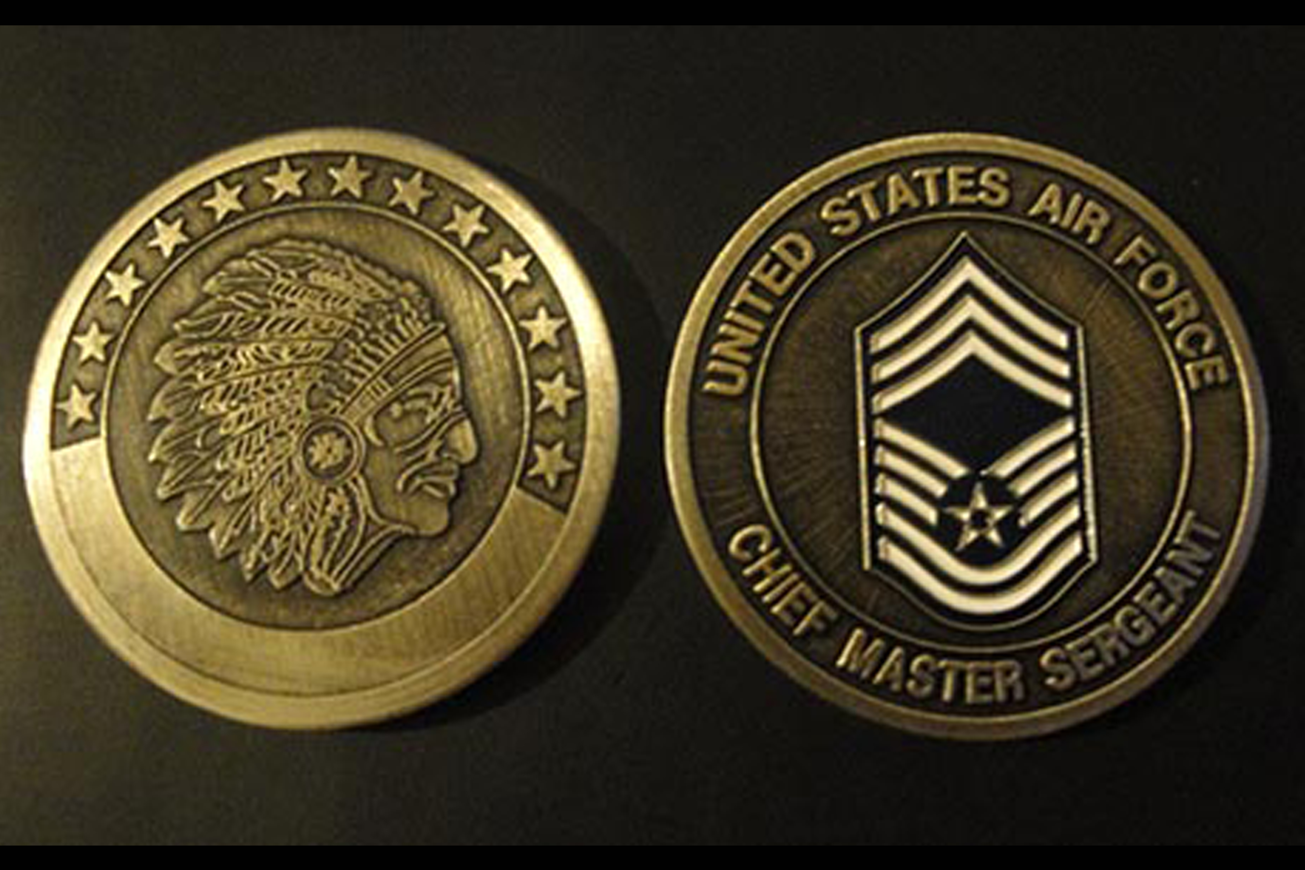 4b863570a2a8 Chief Master Sergeant Antique Gold Challenge Coin – Cartouche and ...
