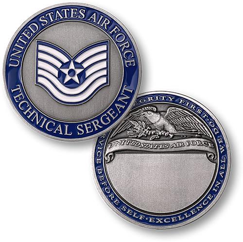 Technical Sergeant Engravable Challenge Coin