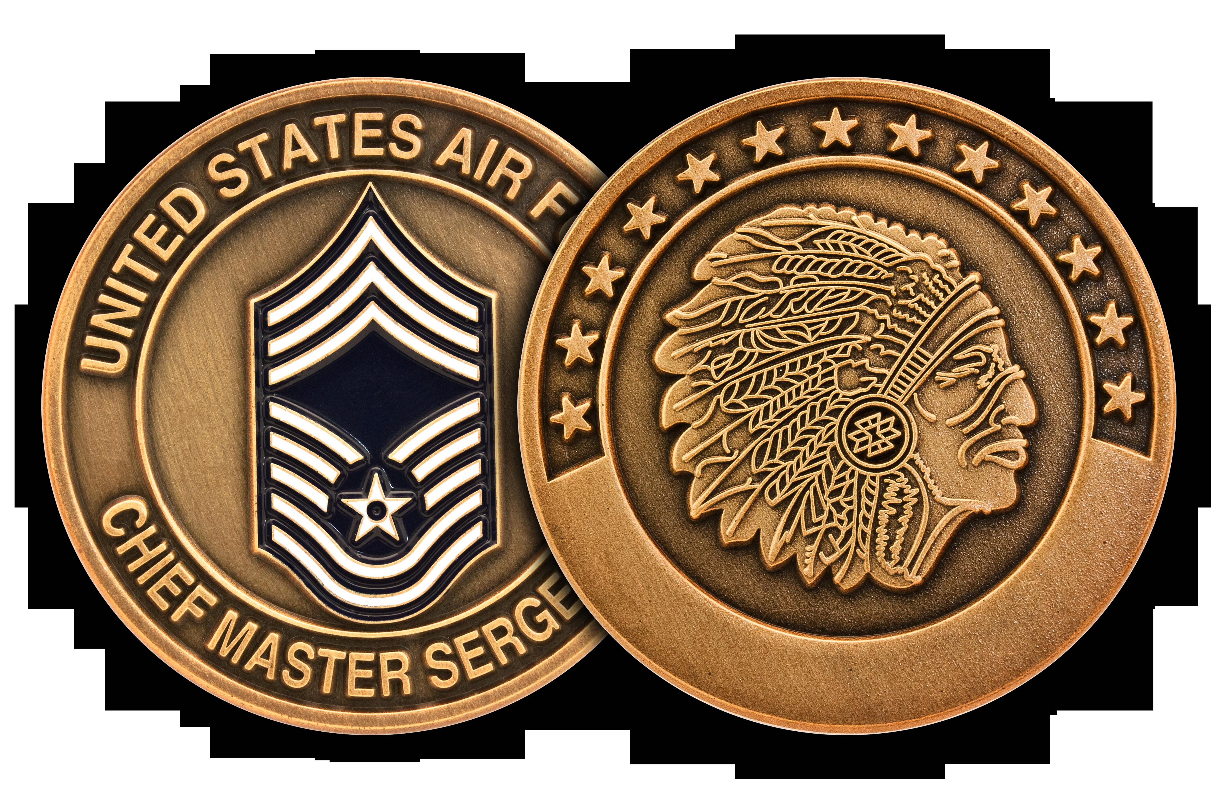 Chief Master Sergeant Bronze Challenge Coin, Engravable