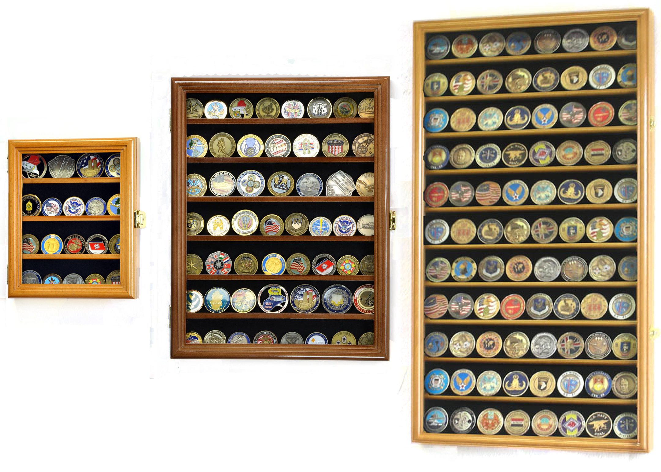 Wall Mounted Challenge Coin Display, Multiple Sizes and Colors